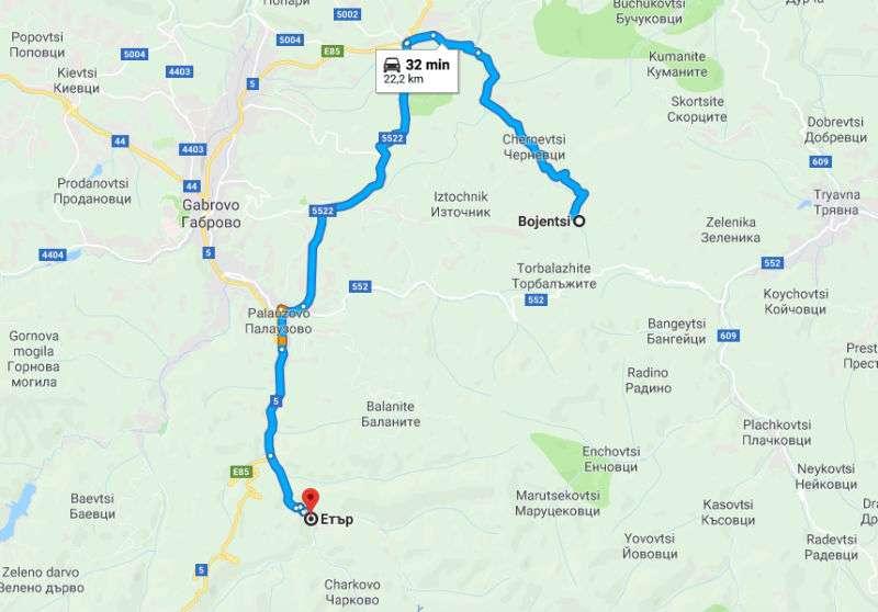 Trayecto de Etara a Bozhentsi, Bulgaria
