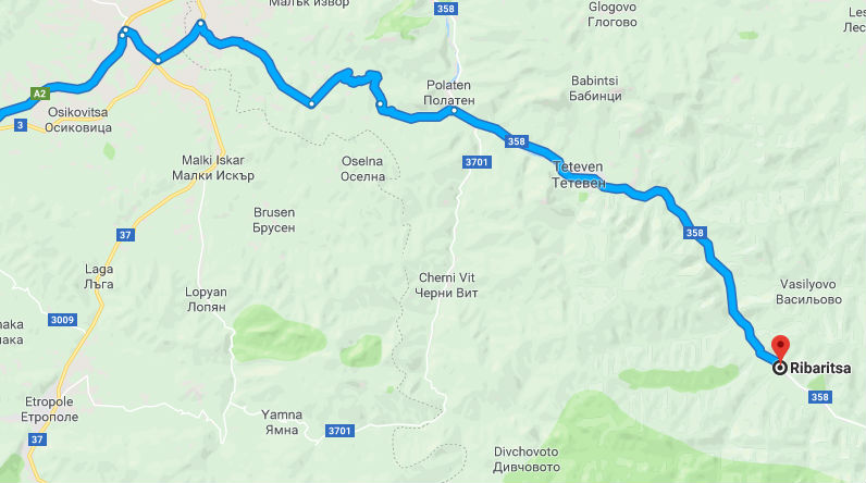 Mapa con la ubicacion de Ribaritsa, Bulgaria