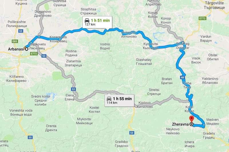 Mapa trayecto de Arbanasi a Zheravna, Bulgaria