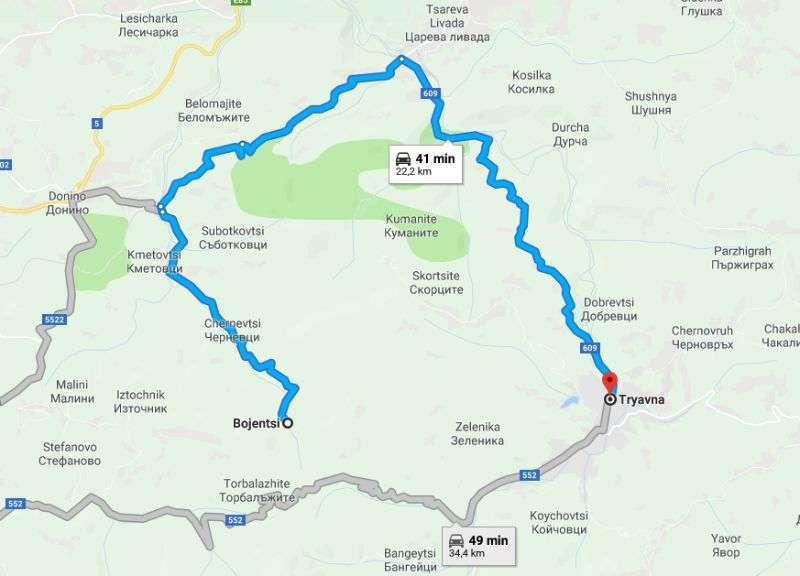 Mapa con trayecto de Bozhentsi a Tryavna, Bulgaria
