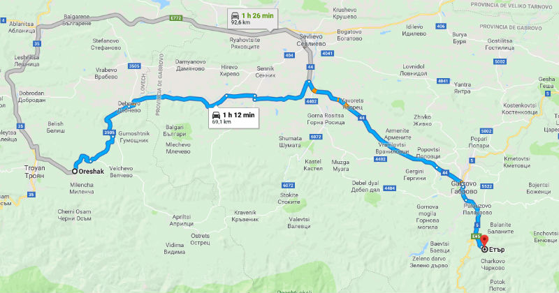 Mapa trayecto Oreshak Etara, Bulgaria