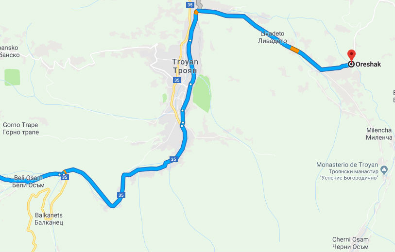 Mapa con la ubicación de Orshak, Bulgaria